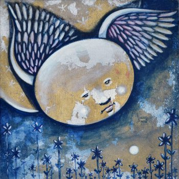 Night-angel-30-x-30-cm-Acrylic-Gold-and-silver-leaves-on-Canvas-and-wood-2020-3600-L.E.-scaled-1.jpg